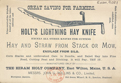 Advert For Holt's Lightning Hay Knife reverse